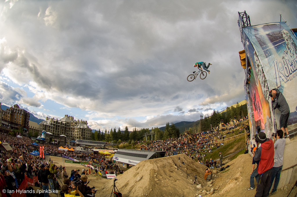 Ryder tailwhipping the Kokanee drop at Crankworx in 2006