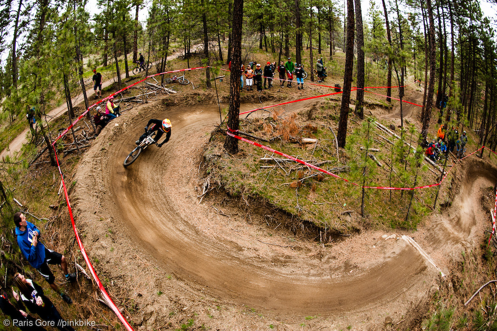 The berms and jumps at the bottom of Saturdays course gave a lot of riders some trouble in the tight turns. Bob Stenson rallies the first turn and get s taken out in the second.