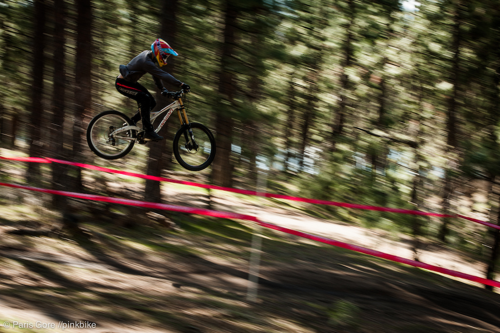 Last jump of the course is the hardest to make to tranny. Bob Stenson sends it.