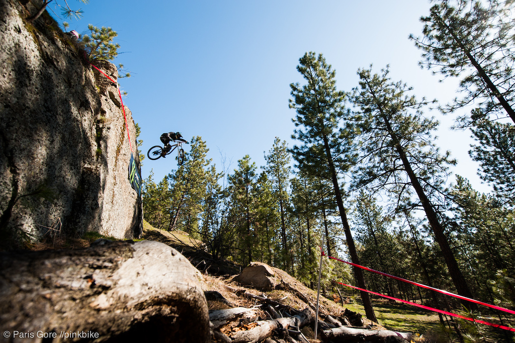 Infamous Girthmore drop made it s way into the Cat 1 Pro course. Lucas Chalcraft wakes up to a big huck early in the morning.