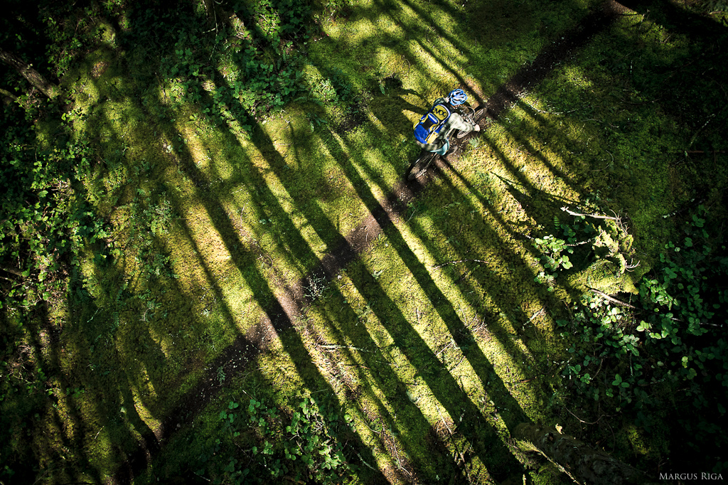 To get this shot Margus Riga spurred his way up a fir tree swaying gently in the wind as Riley McIntosh speeds by.