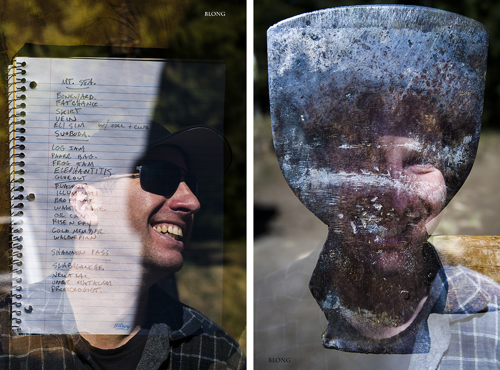 A very fitting double exposure. Mark Holt with his list of trails which is surely missing many. Mark with a tool of his trade.