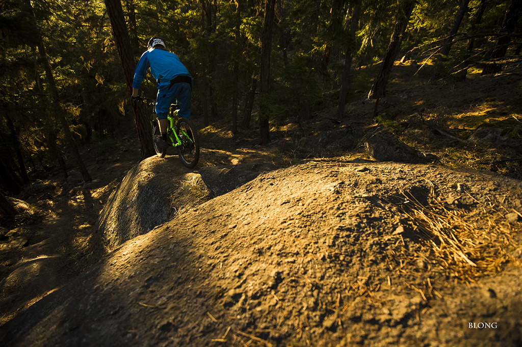 An awesome feature of many of Nelson s trails are all the granite protuberances to be found and utilized for two wheelers. Traction for days due to a gritty surface on this rock. Mark Holt is quick to incorporate these boulders and slabs into his trails. The telltale lines of rubber left behind reveals the passage of many mountain bikers.