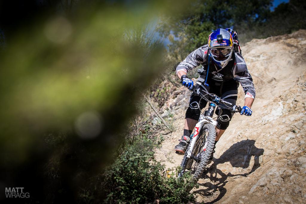 Michal Prokop mountain bike hitting things hard.