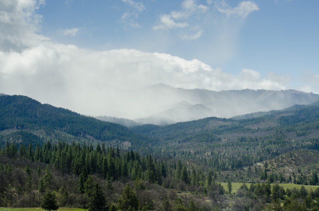 Snow and rain squalls were battling with the sunshine as we continued south through Ashland Oregon.
