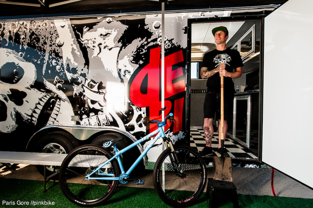 Jake Kinney is literally digging his new bike. No dig no ride. However, Jake shows off his Streetsweeper with redesigned geometry for 2013.