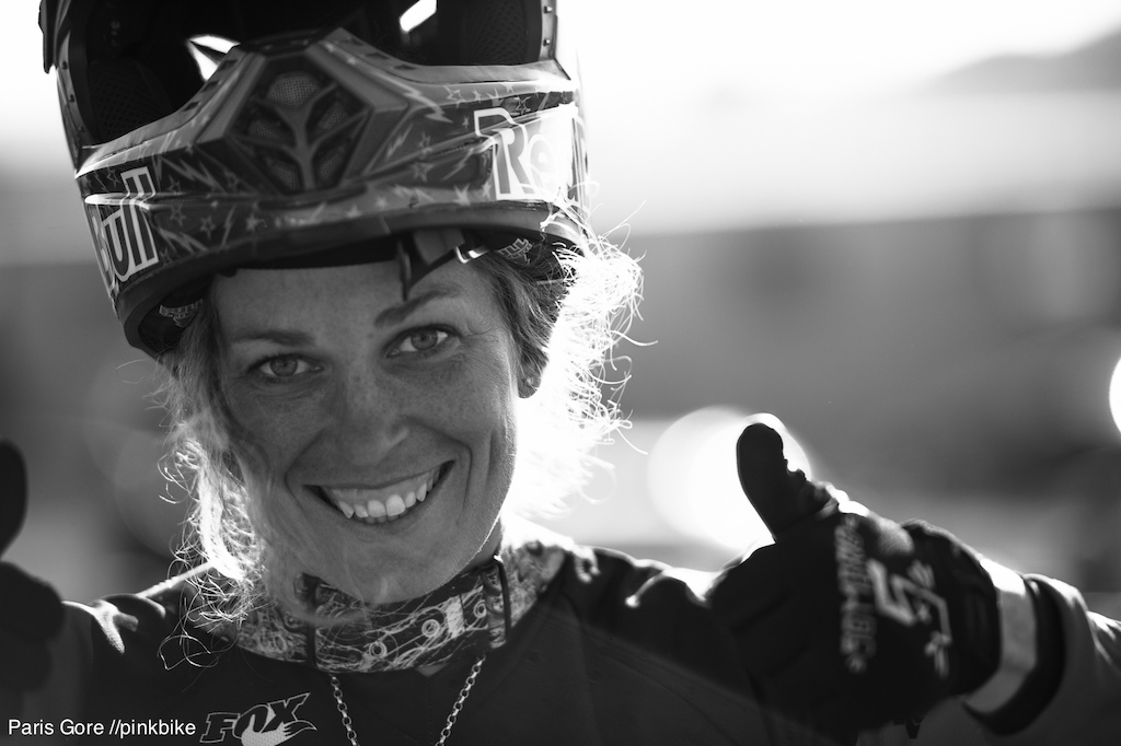 Jill Kintner gives the thumbs up on her first win of the season. With a full DH World Cup ahead of her this year and starting out strong... this could be here year.