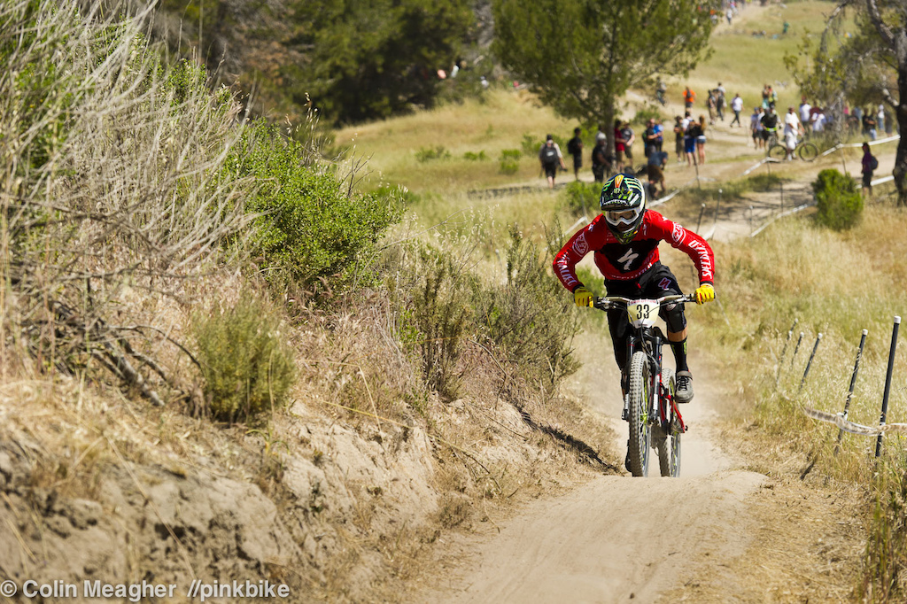 Troy Brosnan pinning it up one of the two uphills on the Sea Otter track.