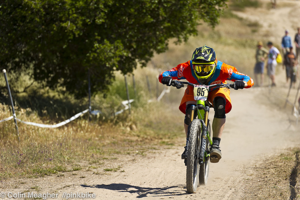 Another NW rider Lars Sternburg keeping it low and tucked in on the straight away section in the middle of the track.