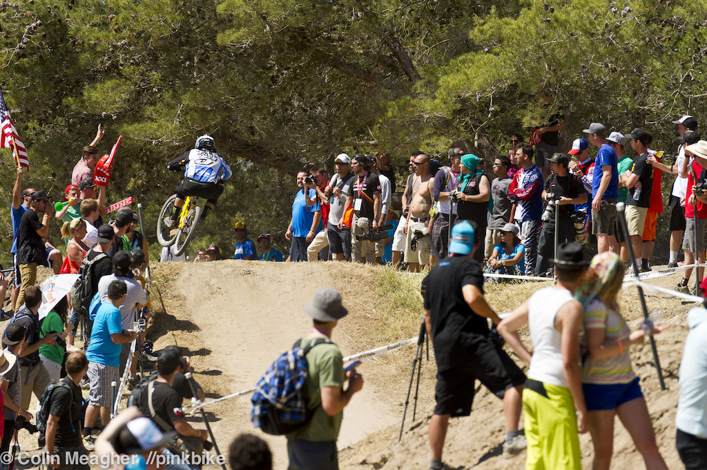 Chain Reaction action. Sam Hill putting his Nukeproof through it s paces.