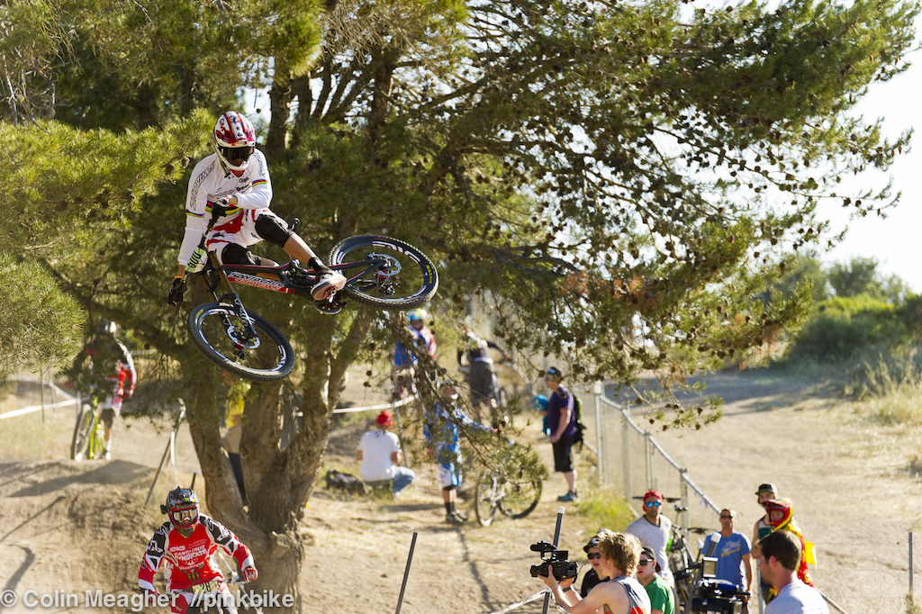 Greg Minnaar settint the tone on the second jump during his first run of the morning.