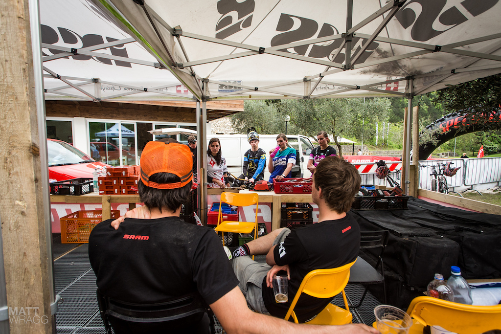 After practice some of the female riders stopped by to discuss the course with the race organisers.