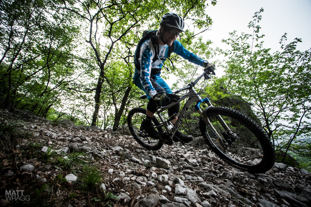 This more or less sums up the surface here in Garda. It is covered with these kind of loose rocks making for unique conditions. It takes a while to get work out how far you can let the bike go and how far you need to keep things in check to ride fast here.