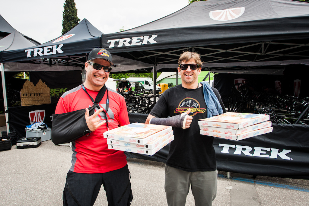 The world s best pizza delivery boys Both Brett Tippie and Wade Simmons are out with bust right arms but they re still here to enjoy the festival.