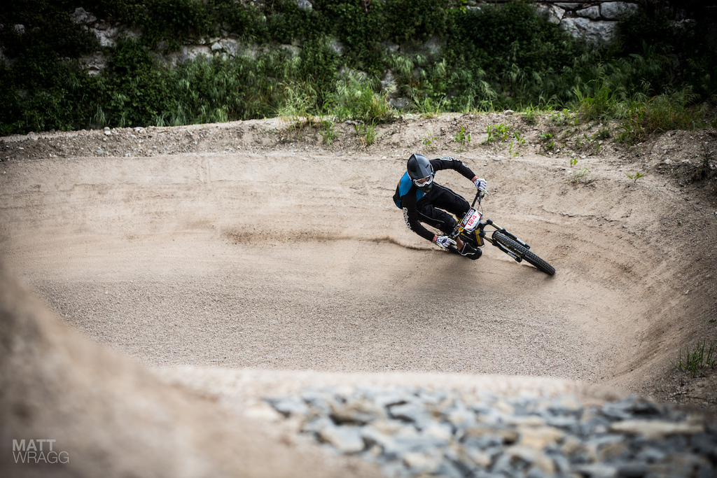 Even on completely the wrong bike for the job big BMX-style berms like this still look like a hell of a lot of fun.