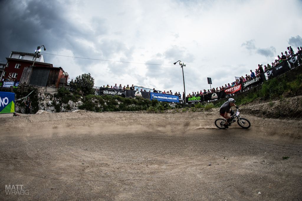 Fans lined the edges of the dirt area to watch the prologue and the dirt jumping going on at the same time.