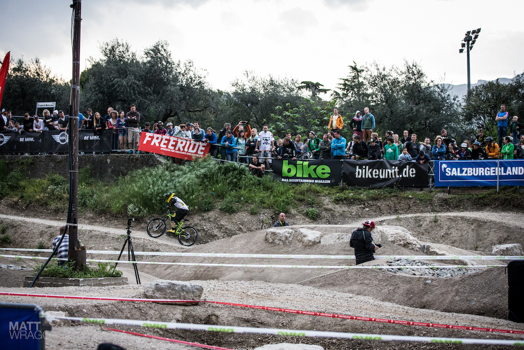 Jerome Clementz can handle a bike anywhere making the pump track look easy.