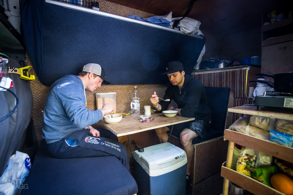 Dirt s Greg Callaghan and his vanmate James have a pretty dialled setup. Proper beds plenty of storage and cooking facilites. Although they do still owe me a cup of tea...