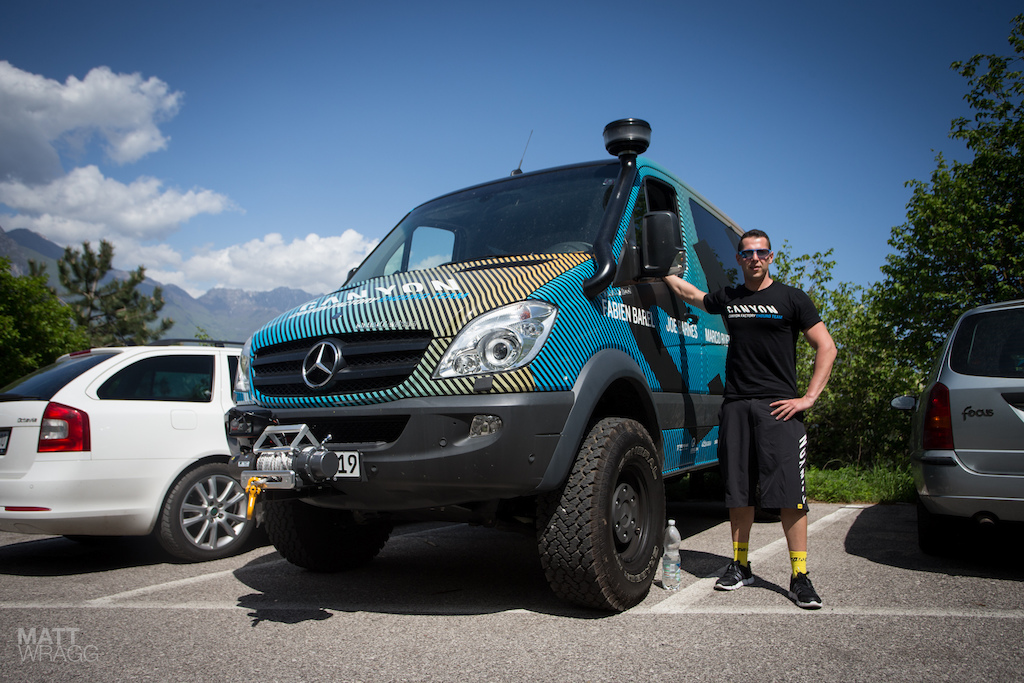 Fabien the Canyon team manager was showing off their team van. Well we guess you call it a van. With a winch snorkel and insane ground clearance this could probably take you shuttling anywhere. It also definitely wins the team vans competition hands down. We want one.