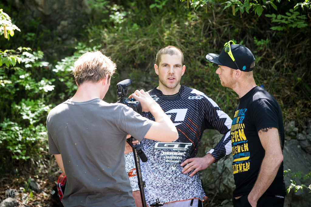Out with his knee injury Joost Wichman is keeping himself busy interviewing riders for the event video.