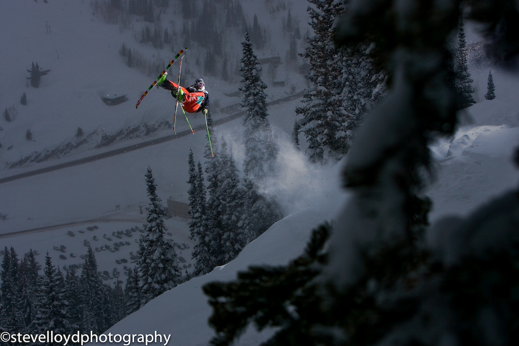 Colter Hinchliffe sending a flat Three for last run at Alta ski resort.