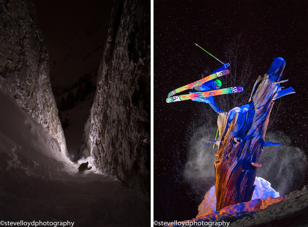 Jeff campbell skis couloir at night and Kevin Brower hand drags a tree at brighton