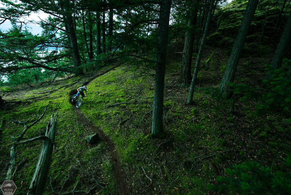 Riley Mcintosh rides one of his favorite zones in Maple Bay BC.