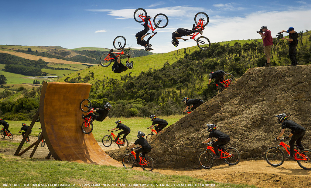 Brett Rheeder, goes over vert on the Frew Farm in Winton, New Zealand for Anthill's upcoming film, #NotBad.