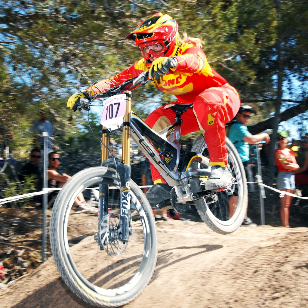 Racing the Pro Women's DH at Sea Otter.