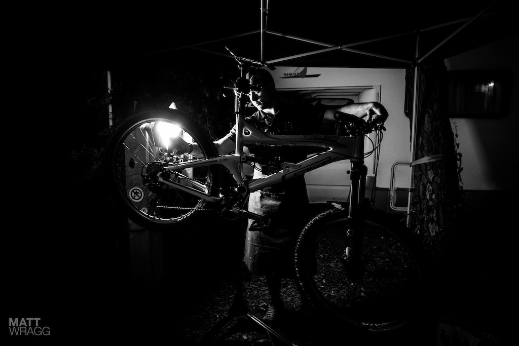 Matteo Nati was the last man working in the pits last night and the first I saw there this morning fettling and perfecting Dan Atherton and Martin Maes bikes.