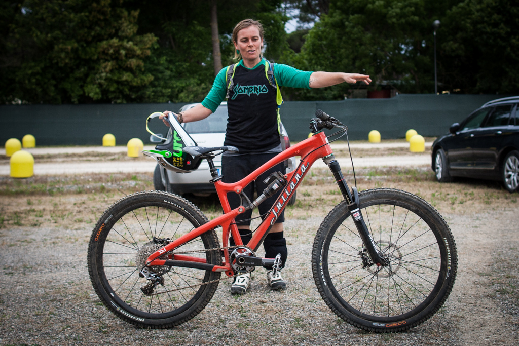 Anka Martin and her prototype Santa Cruz Juliana women s enduro race bike