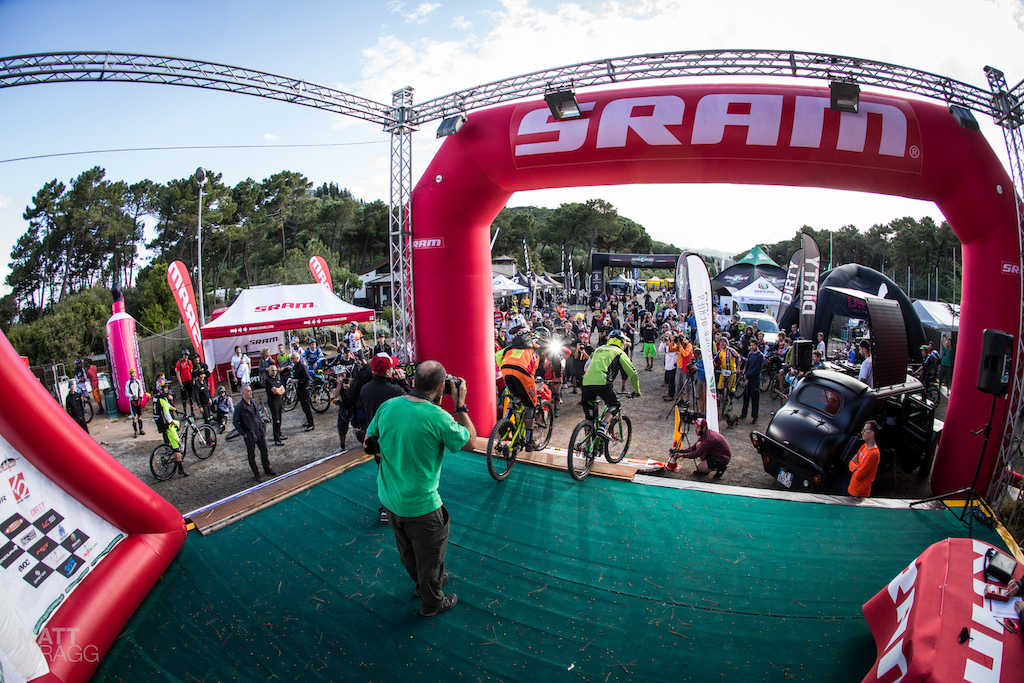 The moment it all began. The first two riders Davide Sottocornola and Cedric Gracia set off on the inaugural Enduro World Series race.