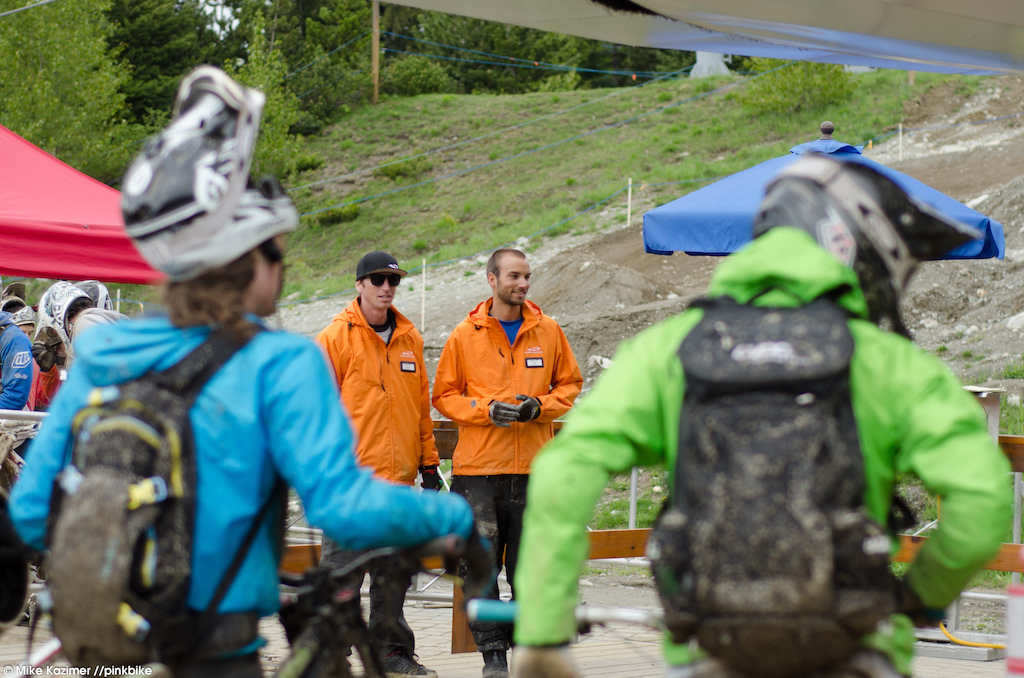 The lifties were enjoying watching riders try to remember how to load their bikes on the chairlift.