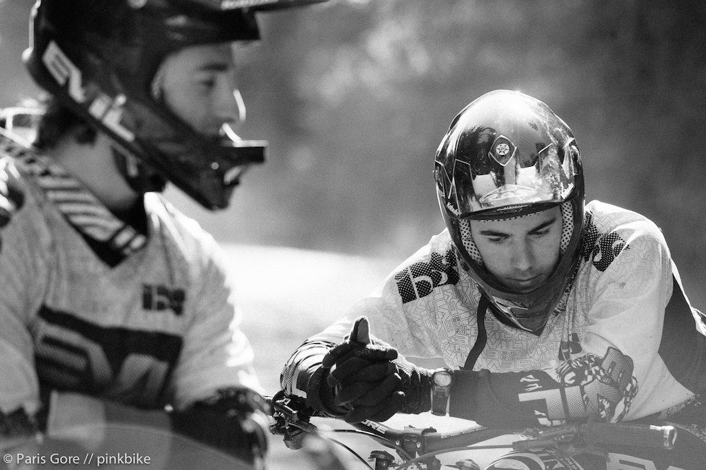 Kevin Littlefield and his mentor Luke Strobel getting ready for their seeding runs. Kevin will be at most of the World Cup s as a Junior this year although he is in the Pro category here in the states.