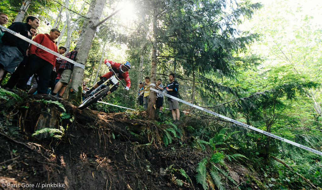 Aaron Gwin putting on the gas into his win at NW Cup 3