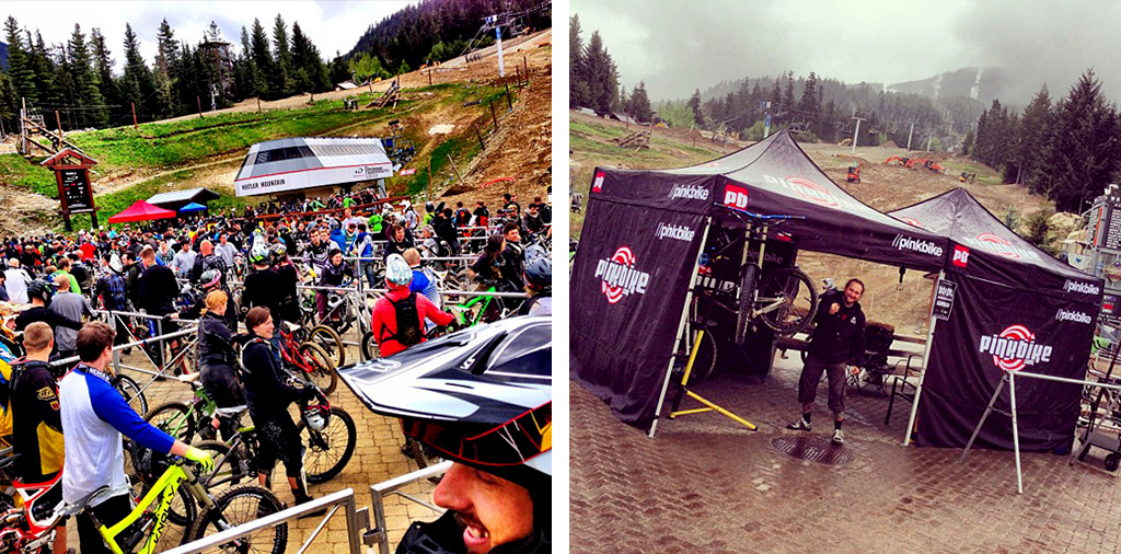 Lineups Pinkbike support tent - Whistler Bike Park opening weekend