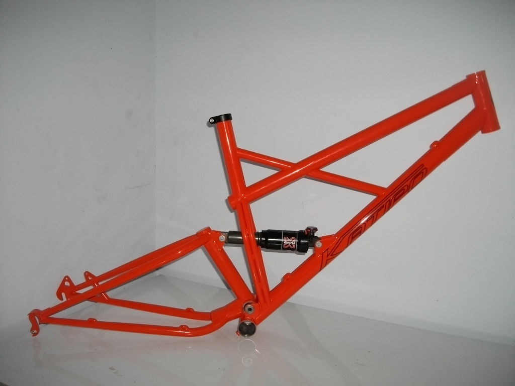 "The trail frame with ""general lee"" orange paint job"