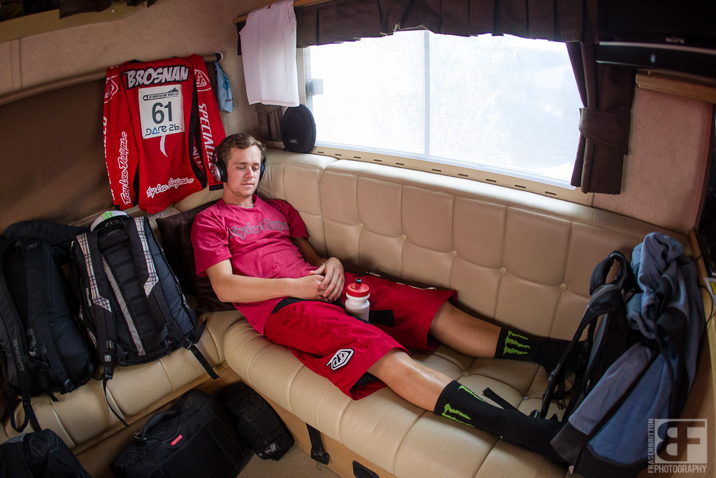 Troy rests up in the truck and gets into the zone before heading to the top.