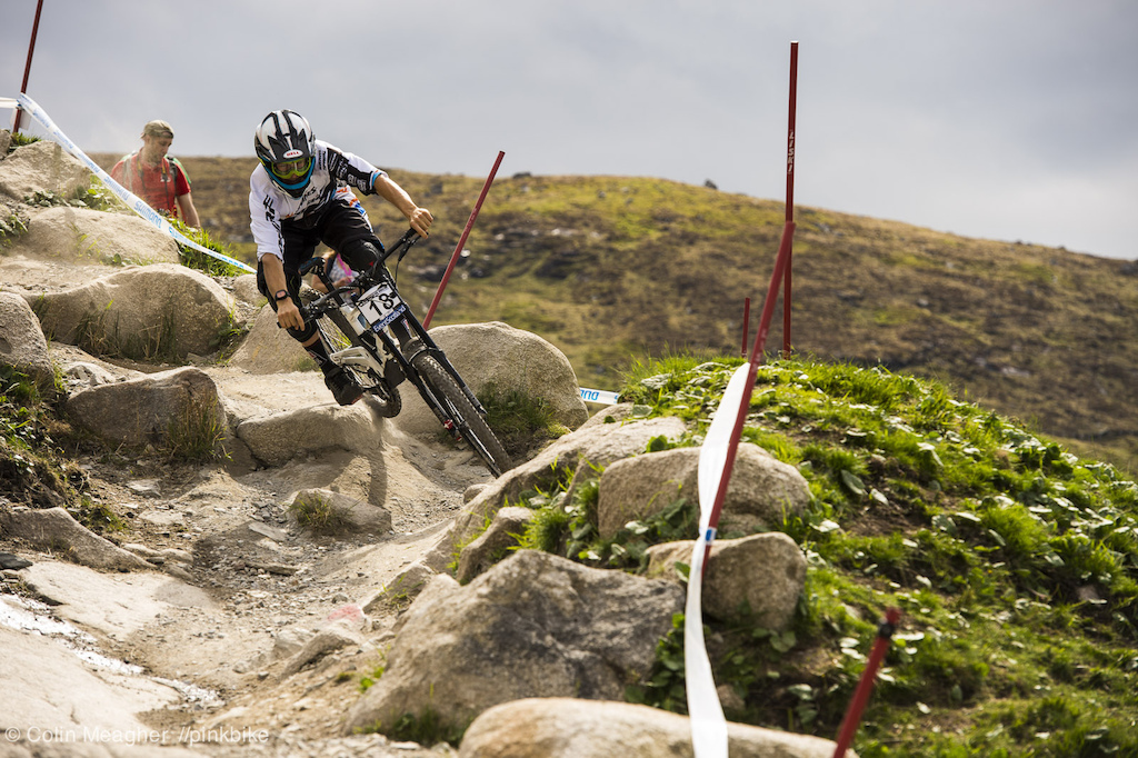 Belnki doing his best pinball wizard through one of the rocky bits of the track.
