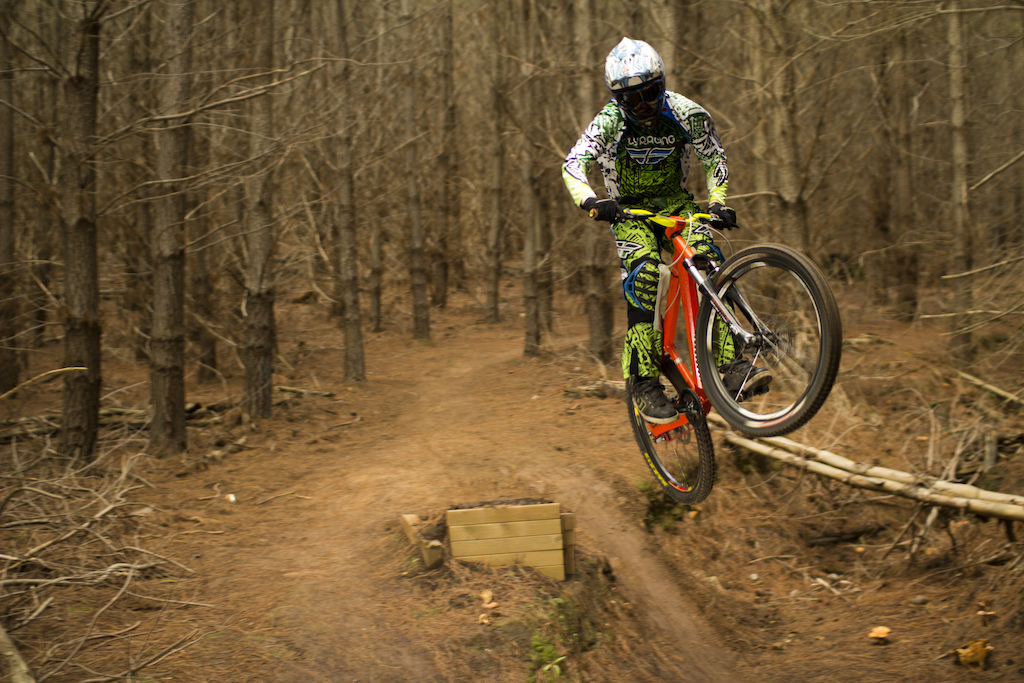 Dan getting stoked on his hardtail today while riding at Bennets!