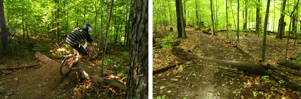 """Last year along the top section, there was a """"momentum-killing"""" S-Turn that will no longer be there.  In the photo on the right, the trail on the left will be the new, more straight line, ridding of the sharp turn on the flat."""
