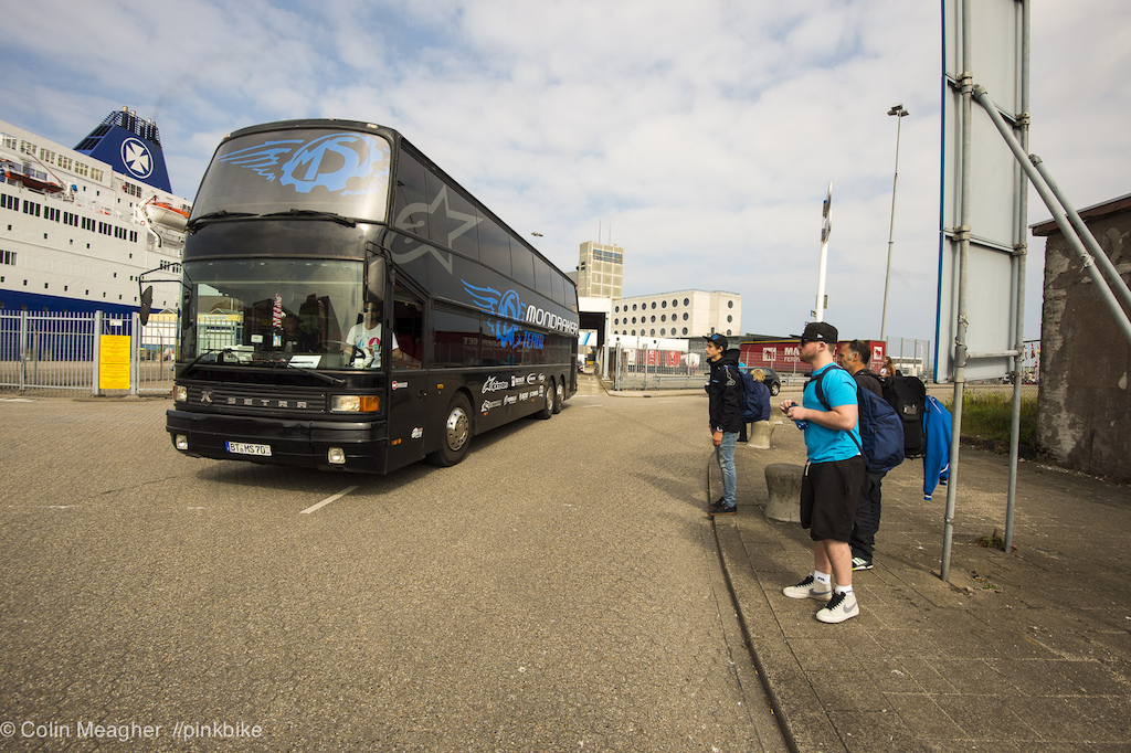 The MS-Mondraker team bus picking up the crew in front of the passenger terminal in Amsterdam.
