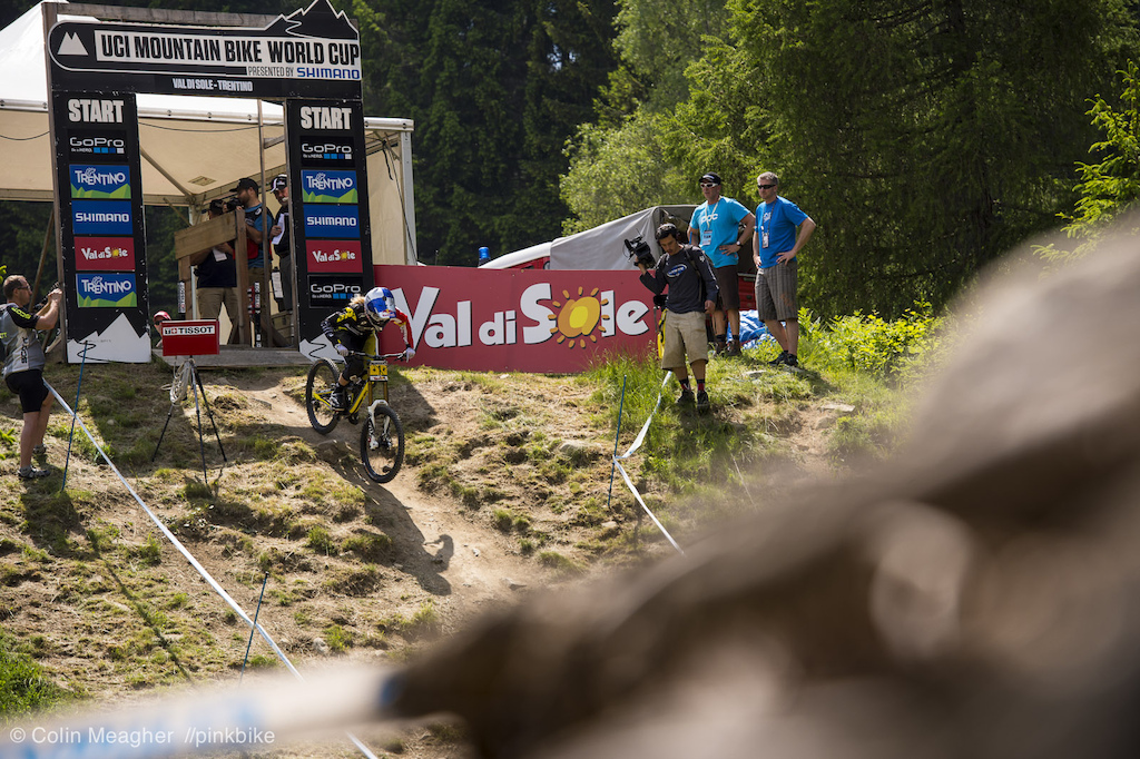 Annnnnnnd racing will commence now with Rachel Atherton laying down an untouchable 3 51.866 run--6 seconds and some ahead of the next closest rider Emmeline Ragot.