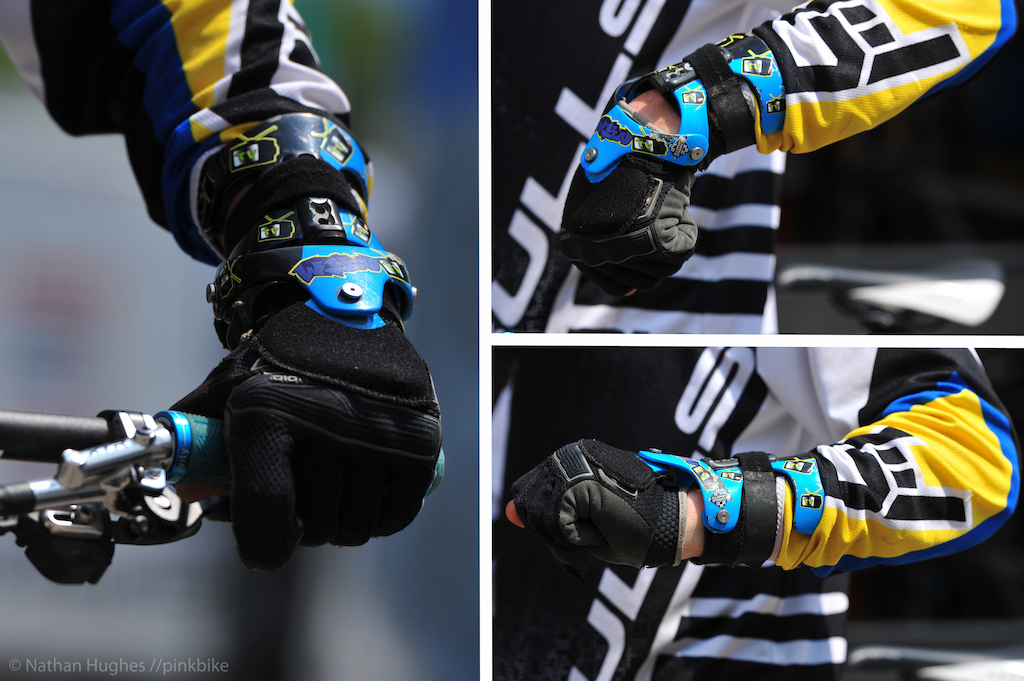 Debate over Wyn Master s bionic arm will rage for weeks until the UCI make a definitive decision on whether robotic power gives him an unfair advantage on the competition. Actually this is just Wyns wrist brace by Texas-born Allsport Dynamics who have become almost standard arm adornment for a lot of motocross riders in the states. Wyn reckons he ll be getting a second one for his other wrist as a preventative he is so impressed with the range of motion and security of the guard.
