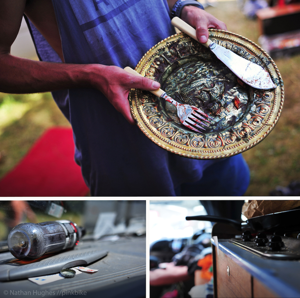 The Victory Plate in all its golden glory equipped with delicate slicing machete and blood smeared five-prong fork. To dine from this receptacle is considered the ultimate honor in this ghetto race community. Only he with the fastest split shall lay his meat upon its embossed surface.