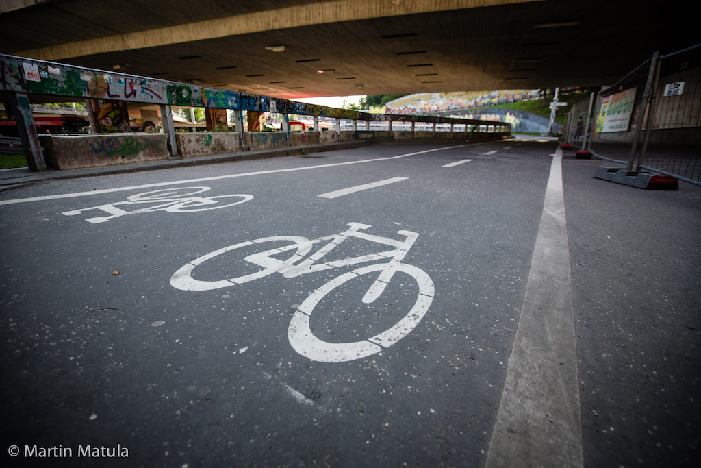 Bicycle wheels are no stranger to this pedally straight under the landmark bridge of the Slovak National Uprising.