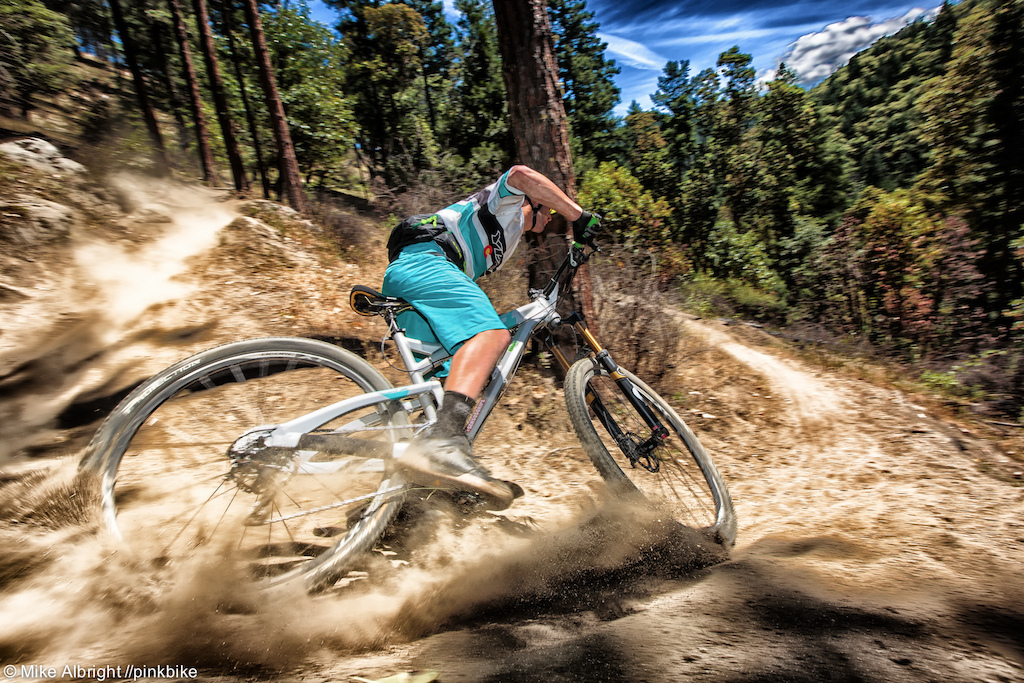 Mason Bond hitting one of the loose corners of the BTI trail.