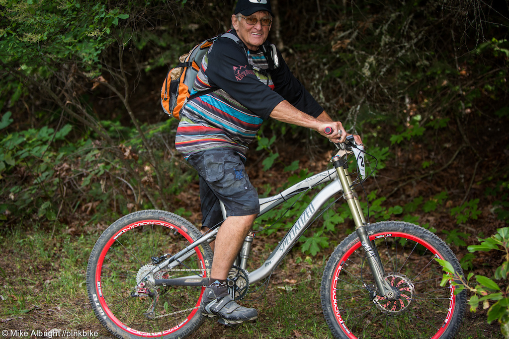 This is Dennis Martinson. In one year he will be 70 He s an Ashland local and has been racing downhill 12 years. He doesn t travel much but if you are racing any gravity mtb race in Ashland definitely say hello. He s very comfortable on his Specialized Enduro 26 I love downhill because you don t have to have young legs or young lungs to go fast I love singletrack -DM