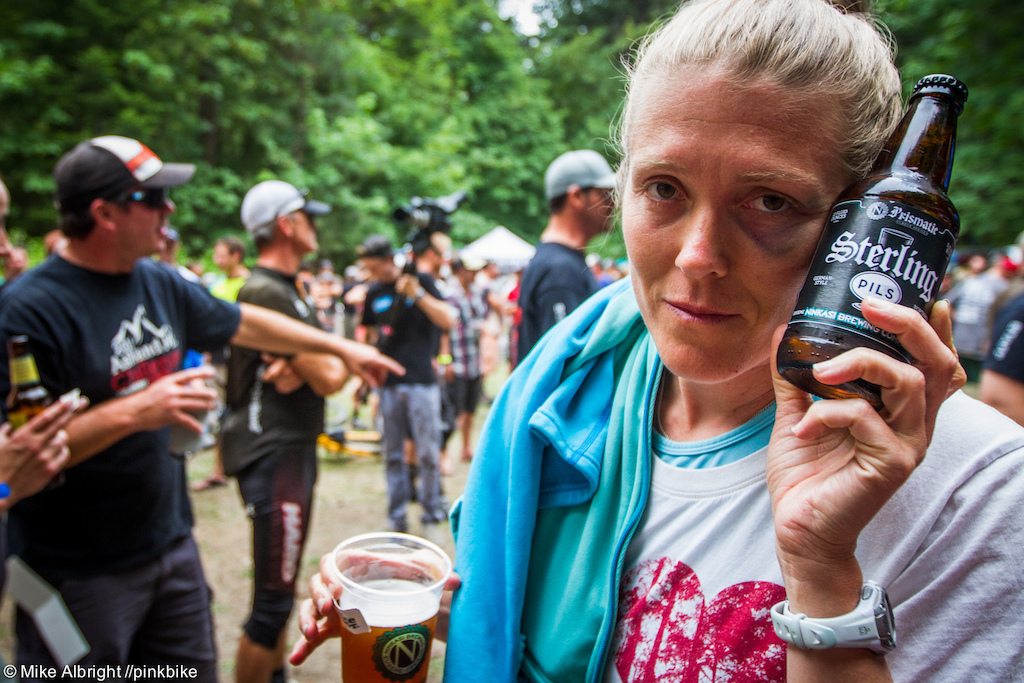 Post-race beverages and pseudo-ice-packs provided by Ninkasi Brewing Co. out of Eugene Oregon. Heather Pola with a shiner.