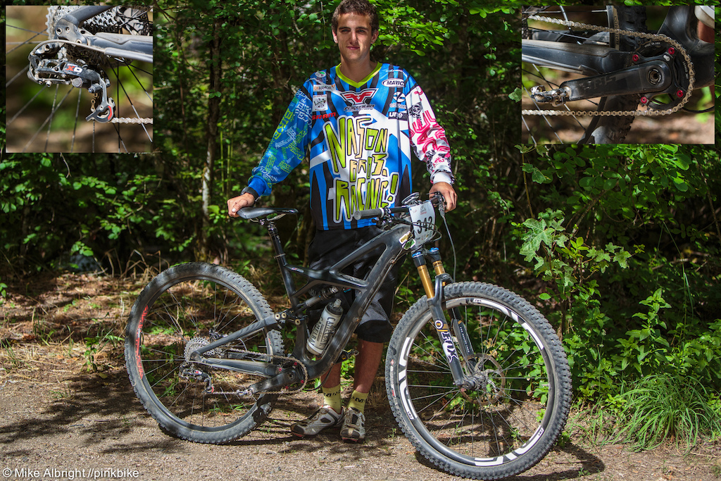 Junior racer bike check. Winter Nason has been at the top of the Jr. racer standing the last few years so we wanted to catch up with him to see what he is riding Its a 2013 Enduro 29er with a 2014 fox 34 enve carbon wheels full xo drivetrain ti brake and rotor bolts Specialized command post xtr pedals and it has a tooth components front chain ring...